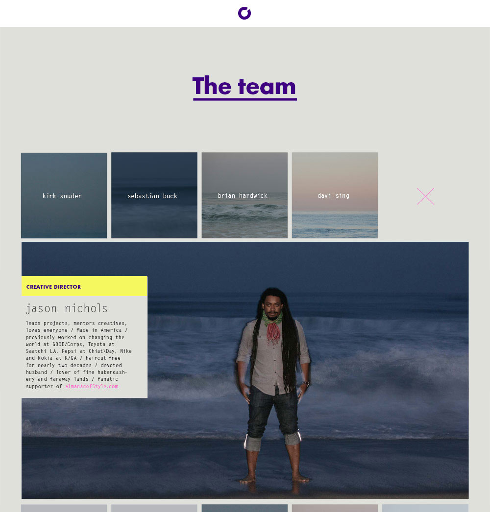 The team page of the website