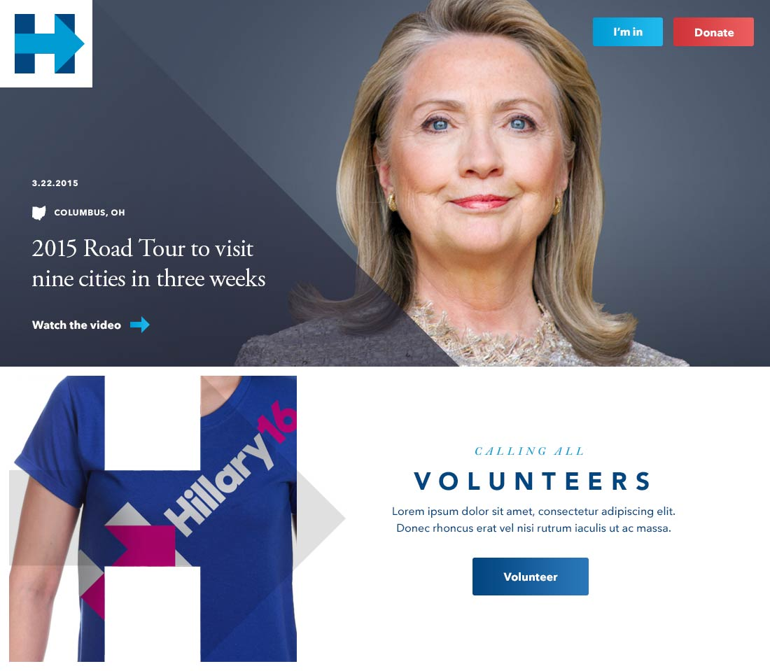 Concept image for Hillary Clinton's website