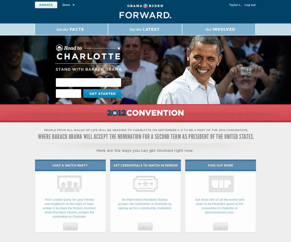 Homepage takeover on barackobama.com