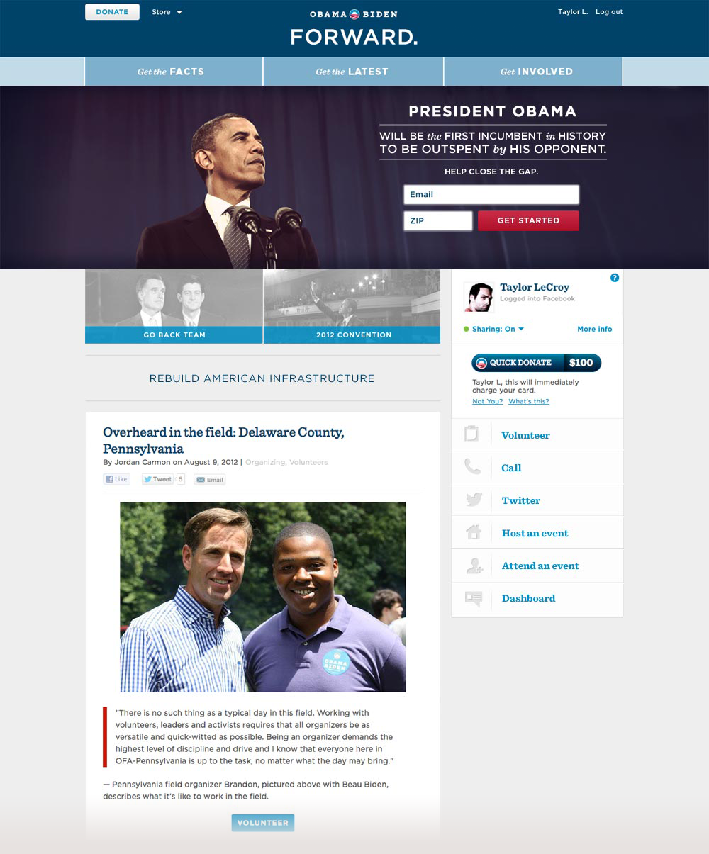 Homepage of barackobama.com
