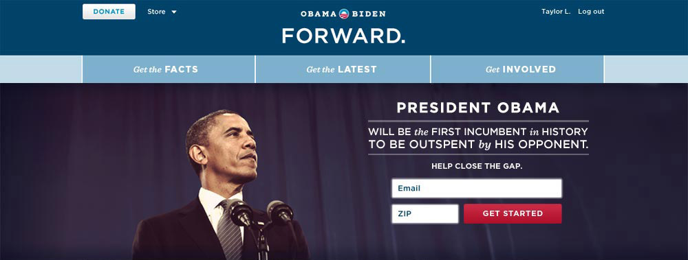 Hero area for Barack Obama's 2012 website