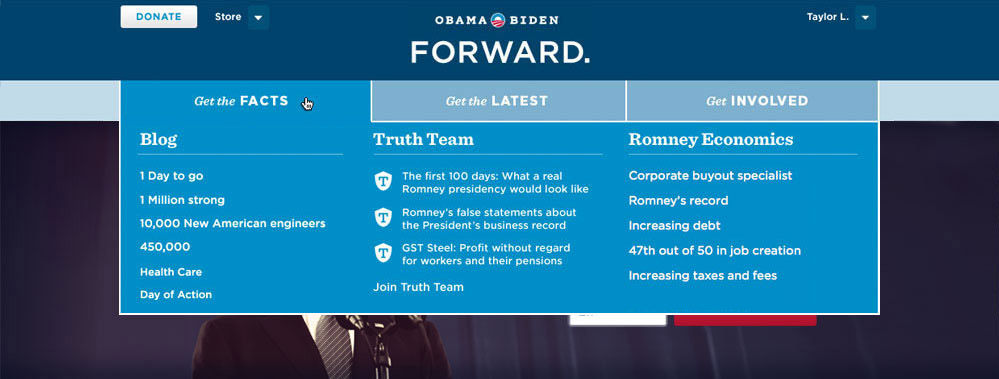 Main navigation for Barack Obama's 2012 website