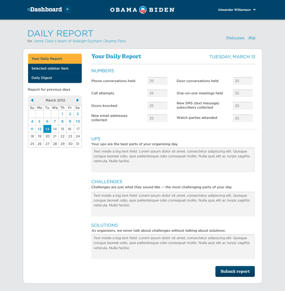 An online tool for delivering a daily report to field team leadership