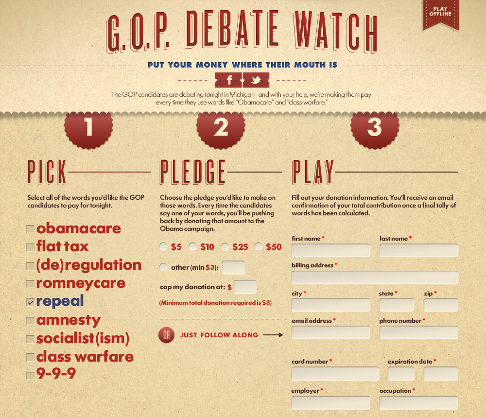 Fundraising website that collected money baed on how many keywords were mentioned during republican debates