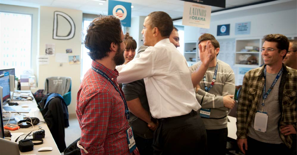Me hugging Barack Obama after election day 2012