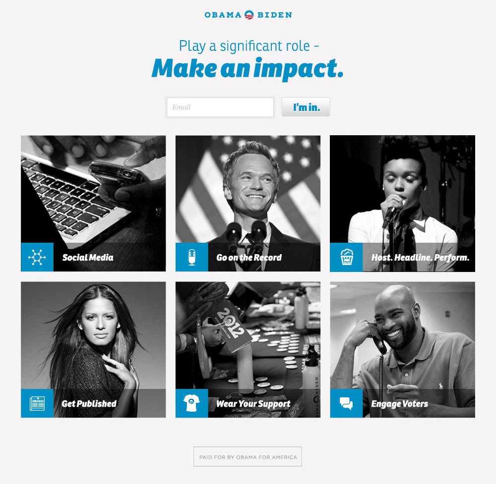 Website to help celebrities use their popularity to rally support for the president